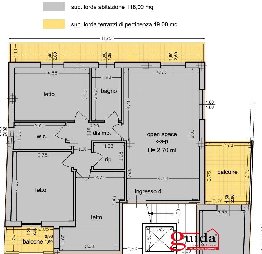 Vendita appartamento casarano appartamento al primo for Planimetrie 1 livello